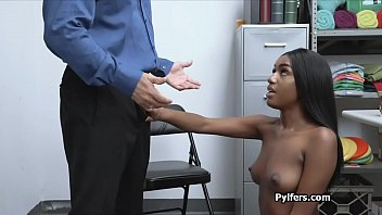Perky ebony thief loves the guards cock and fingers