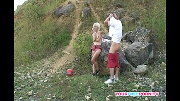 Skinny blonde bitch having hard sex on the mountain