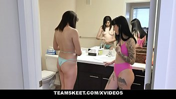No show bikini Stepsiblings - kinky stepdaughters squirt and cum swap their stepdads load