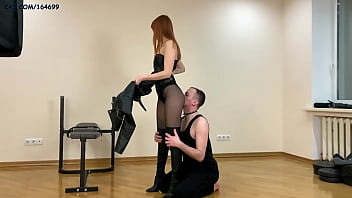 Nylon Ass Worship With Hot Princess Kira In Black Tights, Bodysuit and Leather Boots (Pereview)