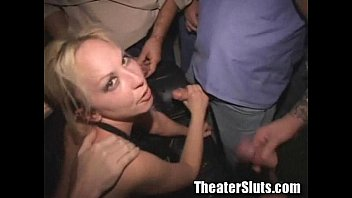 Blonde babe on a theater gangbang