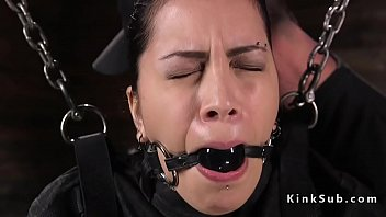 Babe in straitjacket hard whipped