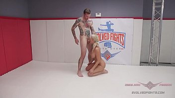 Busty blonde MILF London River is no match at all for tattooed Will Havoc in a competitive nude wrestling match