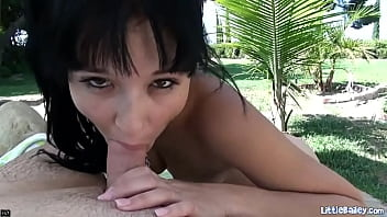 Little Bailey just waxed her vagina and now is outdoors at the pool