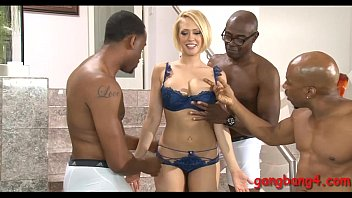 Big juggs blond ho analed by black dicks