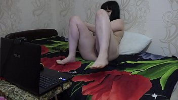 Virtual fetish games on webcam, smoking, nylon legs and fingering hairy pussy.