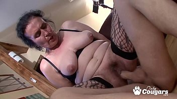 Old wrinkled pussy Chunky old granny puts on some fishnet stockings gets fucked