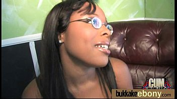 Ebony Cum Slut Hottie Bukkake Party 7