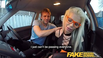 Fake Driving School Blonde bombshell Barbie Sins Taken for a Fuck Ride in black lingerie