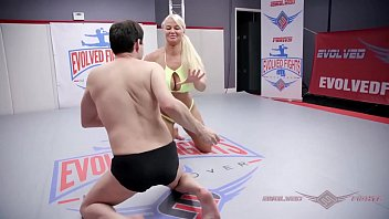 Huge boobs blonde London River naked wrestling an unworthy loser and sitting on his face