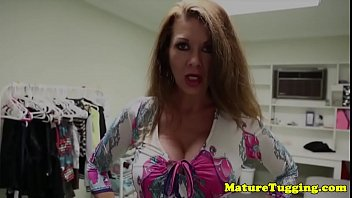 Passionate milf wanking cock