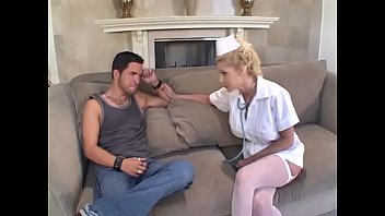 Stud fucks hot busty blond in white stockings then cums on her big tits thumbnail
