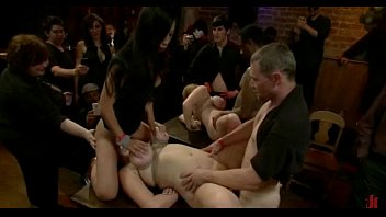 Total orgy - Busty bitch gets her mouth and pussy destroyed in total destruction bondage sex