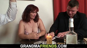 Sexy grandma DP after strip poker