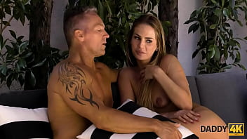 DADDY4K. Athletic man fucks sons cute gf outdoors by the pool