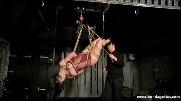 Suspension bondage and artistic rope works of tied up amateur bondage babe restrained