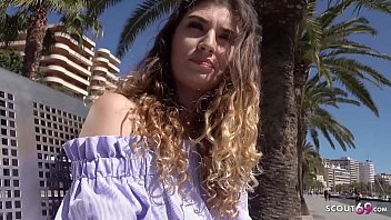 GERMAN SCOUT - Magaluf Holiday Teen Candice with braces at Public Agent Casting