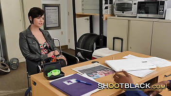 Short haired brunette tests her limits at job interview