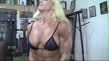 black ink crew xnxx Blonde Female Bodybuilder in See Thru Top Works Out Hard