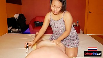 Chubby big ass Asian cutie massages body and his dick too