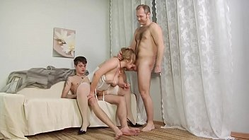 Grandma anal gangbang - She gets fucked in both holes together