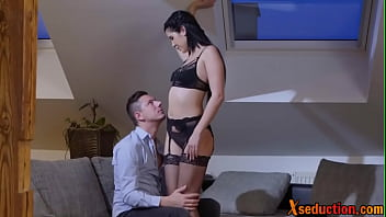 Passionate newlywed begins foreplay with her lucky man