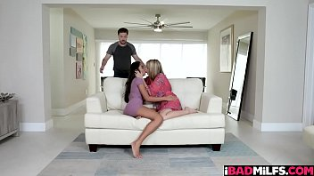 Stepson Fucking Mom And Girlfriend At The Same Time With His Manly Huge Cock!