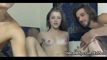 Amateur Hot Chick Takes On Two Guys Live On Webcam!