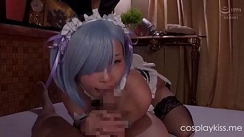 Re Zero Rem gives head to an adventurer parody cosplay porn