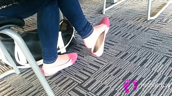 Candid Asian Teen Shoeplay Feet Dangling Pink Flats Part 2