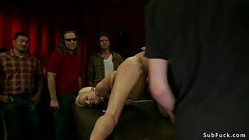 Slim busty blonde anal fucked in public