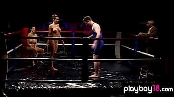 Muscular busty blonde mature beating a dude in the boxing ring