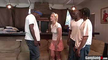 Naive teen blondie tricked into group sex by black gang