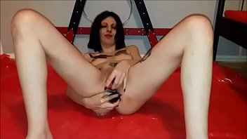 Lucy Ravenblood aka Slut Lucy strips dildoing her pussy and dirty anal