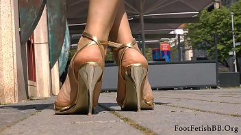 Golden stiletto sandals