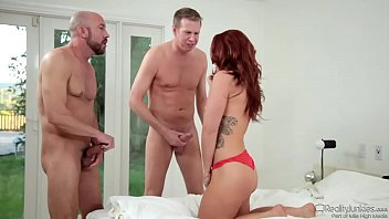 Savannah Fox Dealing With Two Cocks