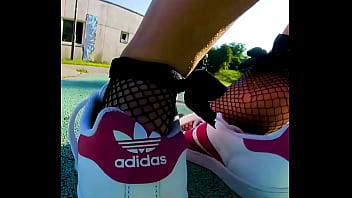 Sweaty and smelly sneaker, dangle, can see my sweat stinky Adidas stinky smelly feet