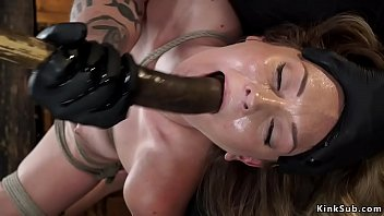Blonde sub is toyed in suspension