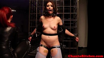 Rough femdom domina ties up submissive