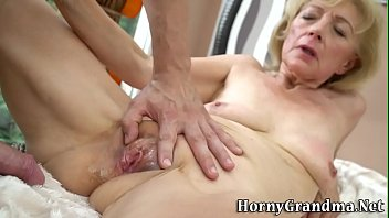 Wrinkled old woman fucked and creampied