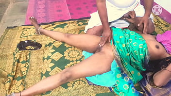 Sex in green colour saree panty