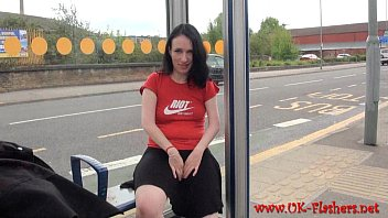 Amateur babe Fae Corbins naughty outdoor masturbation and public flashing of dar