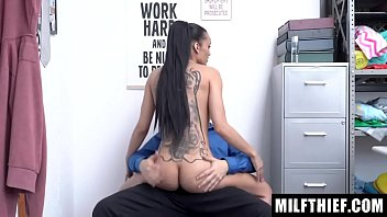 Skinny Milf Attempts To Hide Stolen Goods In Her Undergarments, Caught and Fucked - Gia Vendetti