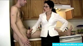 Cougar tuggs and blows cock like a pro