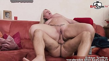 Fat chubby bbw german mom seduces guy at home with her big natural tits