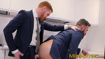 Executives enjoy sloppy blowjob before a rough analfucking