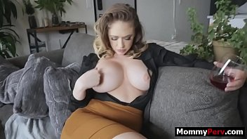 Busty mom fucking and sucking son's dick