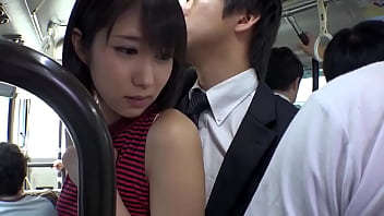 Sexy japanese chick in miniskirt gets fucked in a public bus.
