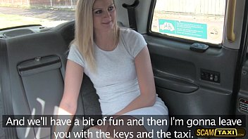Unusual brunette European have sex with a cabbie inside the cab
