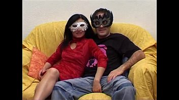 Private couple with mask has sex in front a camera video